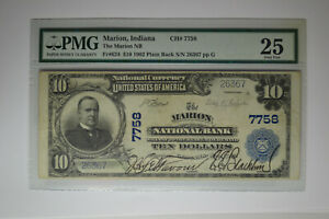 Marion, IN - $10 1902 Plain Back Fr. 624 The Marion NB Ch. # 7758