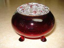 Vintage Viking Ruby Red Flower Bowl w/ Glass Frog