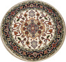 4x4 Round Geometric Indo-Heriz Oriental Area Rug Ivory Hand-Knotted Wool Carpet
