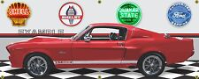 1967 MUSTANG SHELBY GT500E RED WHITE CAR GARAGE SCENE BANNER SIGN ART 2' X 5'