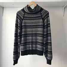 Karen Millen Womens Geo-Print Merino Knit Jumper Black, Size M / AU 10 -12