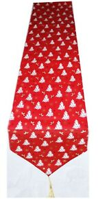 Red Xmas 2 meters long table cotton table runner Christmas trees