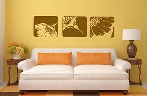 Set of 3 Canvas Effect Removable Flower Wall Art Sticker for Living room Bedroom