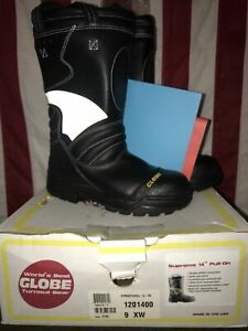 """Globe 14"""" Supreme Structural Firefighter Pull-On  Boots 1201400 Size 9 XW NIB"""