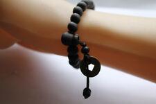 Handmade Wooden Buddha Black Beaded Bracelet with Copper Coin