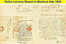 1843 Police report mailed to Gonzaga about a larceny violation in Mantova. (21)