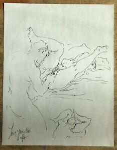 Harry Carmean Original Erotic Suggestive Ink Drawing Sketch Signed Artwork 1994