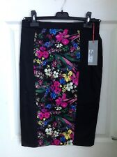 Marks & Spencer M&S PANEL FLORAL BLACK stretch PENCIL SKIRT Sz 6 BNWT NEW £35