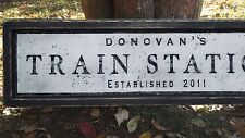 Custom Train Station Wood Sign - Hand Made Rustic Home Decor