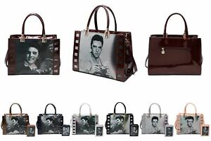 Craze London Singing Star Elvis Presley Patent Leather Hand Bag With Purse