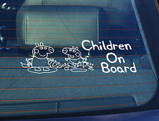 Static Cling Window Car Sign/Decal Children on Board 100 x 250mm Peppa Pig