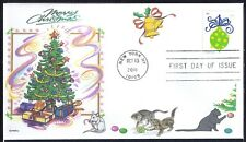 CHRISTMAS   CATS  TREE  MOUSE  BELL  ORNAMENTS       FDC - DWc CACHET