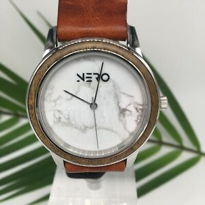 Nero Venice Royal Watch toughen leather with a White Marble face