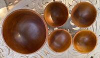 Unisilver Thai Teak Wood Salad and Serving Bowl Set of 4 unused vintage