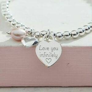 Silver Charm Ball Bracelet Engraved Heart Gift Boxed Personalised Jewellery Gift