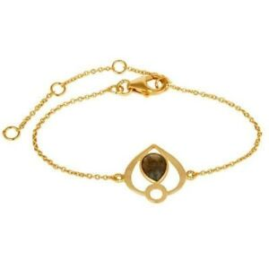 18K Yellow Gold Plated Sterling Silver Labradorite Gemstone Bracelet Jewelry
