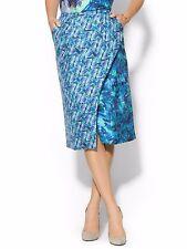 NWT Rachelalex Evermore Midi 100% Silk Skirt Floral Blue digital Print Sz US 2