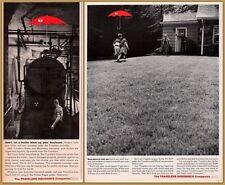 2 1960 's Travelers Insurance Co Print Ads Red Umbrella Boiler Grandchildren