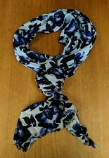 """Pretty ladies black, blue and white floral 66"""" x 18"""" rectangle scarf/wrap"""