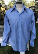 VTG Men's Shirt Hathaway Chalk Shades Blue Point Collar for Cuff Links 42R