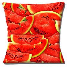 """NEW NOVELTY WATERMELON SLICES FRUIT PHOTO PRINT DESIGN 16"""" Pillow Cushion Cover"""