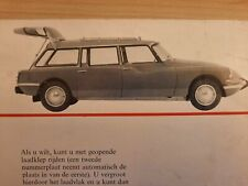 1963 CITROEN ID 19 BREAK DS19 car sales brochure. Vintage Dutch text catalogue