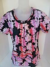 BABY PHAT Women's Black Pink Floral Scrub Top 26733CB SMALL Nurse Medical