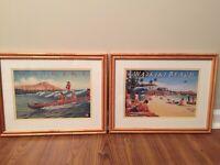 Los Angeles Steamship Co 2 Prints Of Waikiki Hawaii Framed