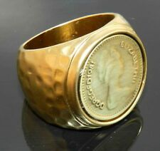 Vtg Antique Style Elizabeth Coin Gold 24K Plated Men Women Ring Size 8