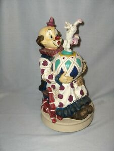Vntg Melody In Motion Clown Balancing Poodle Side Street Circus Be A Clown RARE