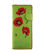 LAVISHY POPPY EMBROIDERED LARGE WALLET VEGAN FAUX LEATHER NEW (97-190Green)