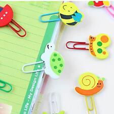 2 Pcs Office Home Desk Decor Cute Cartoon Wooden Paper Clip Note Mark Bookmarker