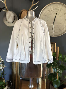 White denim flared Jacket size 18 contrast stitch as new lovely detail all round
