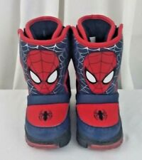 Marvel Ultimate Spiderman light up (working) winter snow boots toddler boys Sz 6