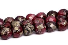 4MM Natural Dark Red Pyrite Beads Grade AAA Faceted Round Loose Beads 15.5""
