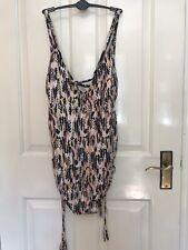 Marks & Spencer Swim suit Size 22 Pink Metallic print draw strings rushed sides