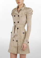 Burberry Prorsum Light Beige Suede Knotted Epaulettes Short Trench Coat  38 2/4