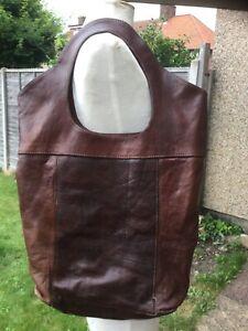 Vintage hand made leather lightweight shoulder bag