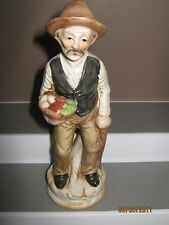 Ceramic figurine old man no 9 standing with food bowl size 140 to 185 mm ex/cond