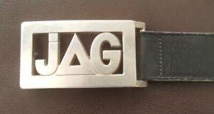 JAG Black Leather Belt & Buckle. Mens Size  36 / 91.