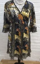 Joe Browns Wrap Dress 16 Metallic Animal Print Floral Cotton Orange Brown Yellow