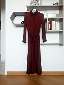 Vestito maxi abito autunnale OVS bordeaux con colletto e cintura - veste tg. 42