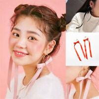 1/2X Fashion Jewelry Korean Style Pink Ribbon Bow Tie Dangle Piercing Earrings