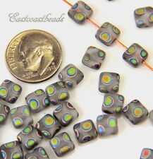 Flat Square Beads 6x6mm Mat Crystal w/Peacock Finish~Preciosa Czech Beads 20 Pcs