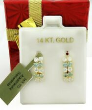 AQUAMARINE & WHITE SAPPHIRE DANGLING EARRINGS 14K YELLOW GOLD *New With Tag*