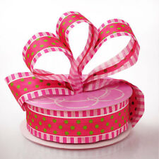 NEW 1 1/2 INCH PINK AND GREEN POLKA STRIPE WIRED RIBBON / 5 YARDS OFF ROLL