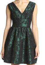 Jessica Simpson Dress Sz 6 Green Black Piped Lace Petticoat Cocktail Dress