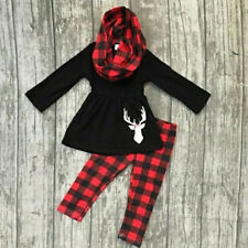 Xmas Toddler Kids Baby Girl Christmas Tops Dress+Check Plaid Pant Outfit Clothes