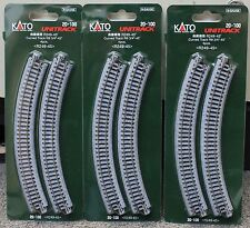 LOT of 3 - N Scale KATO UNITRACK 20-100 Curved Track R249-45* 4 Pieces per Pack
