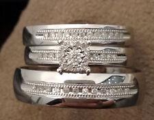 10k White Gold His Her Mens Woman Diamonds Wedding Ring Bands Trio Bridal Set